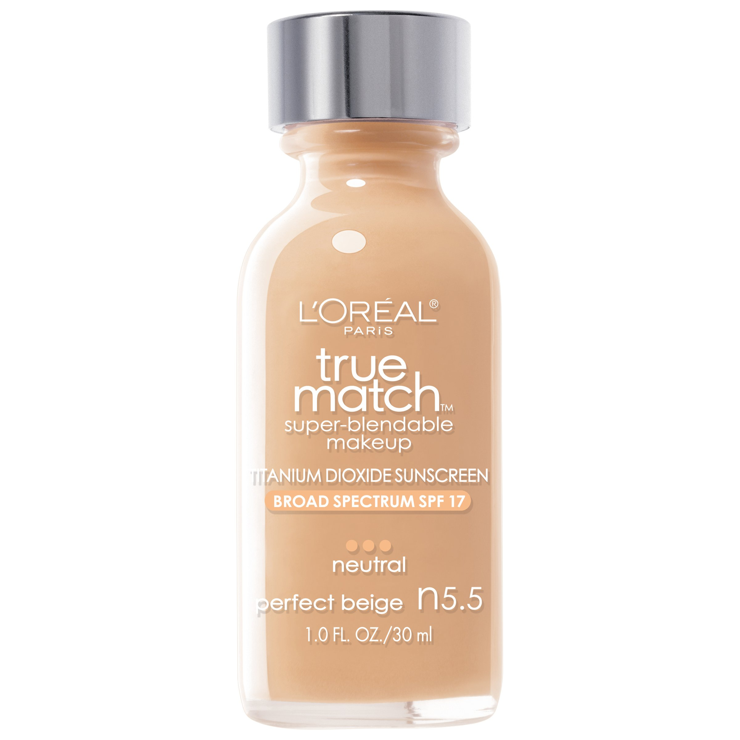 L'Oreal Paris Makeup True Match Super-Blendable Liquid Foundation, Perfect Beige N5.5, 1 Fl Oz,1 Count