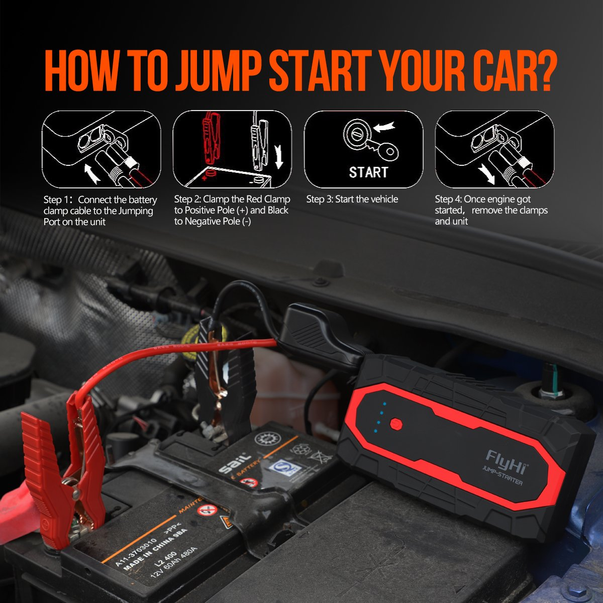 Flyhi N18 1200a Peak Portable Car Jump Starterup To 70 Short Circuit Protection Starter 12v 24v Truck 70l Gas 65l Diesel Engine Battery Booster With Dual Smart Usb 5 9 Quick Charge