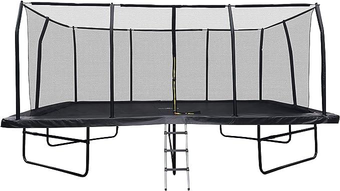 JUMP4FUN Cama elástica de jardín rectangular XXXL 518 cm x 305 cm modelo familia – Pack completo con red de seguridad, colchón de protección y escalera: Amazon.es: Deportes y aire libre