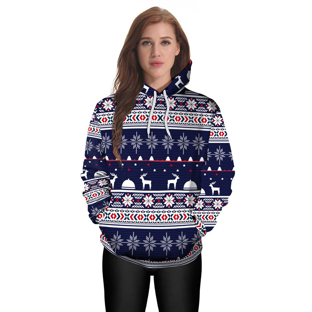 Lmtime 2018 Sweatshirt Women's Christmas Pullover Winter Hoodie Jumper Sweater Hooded Top (L, Blue)