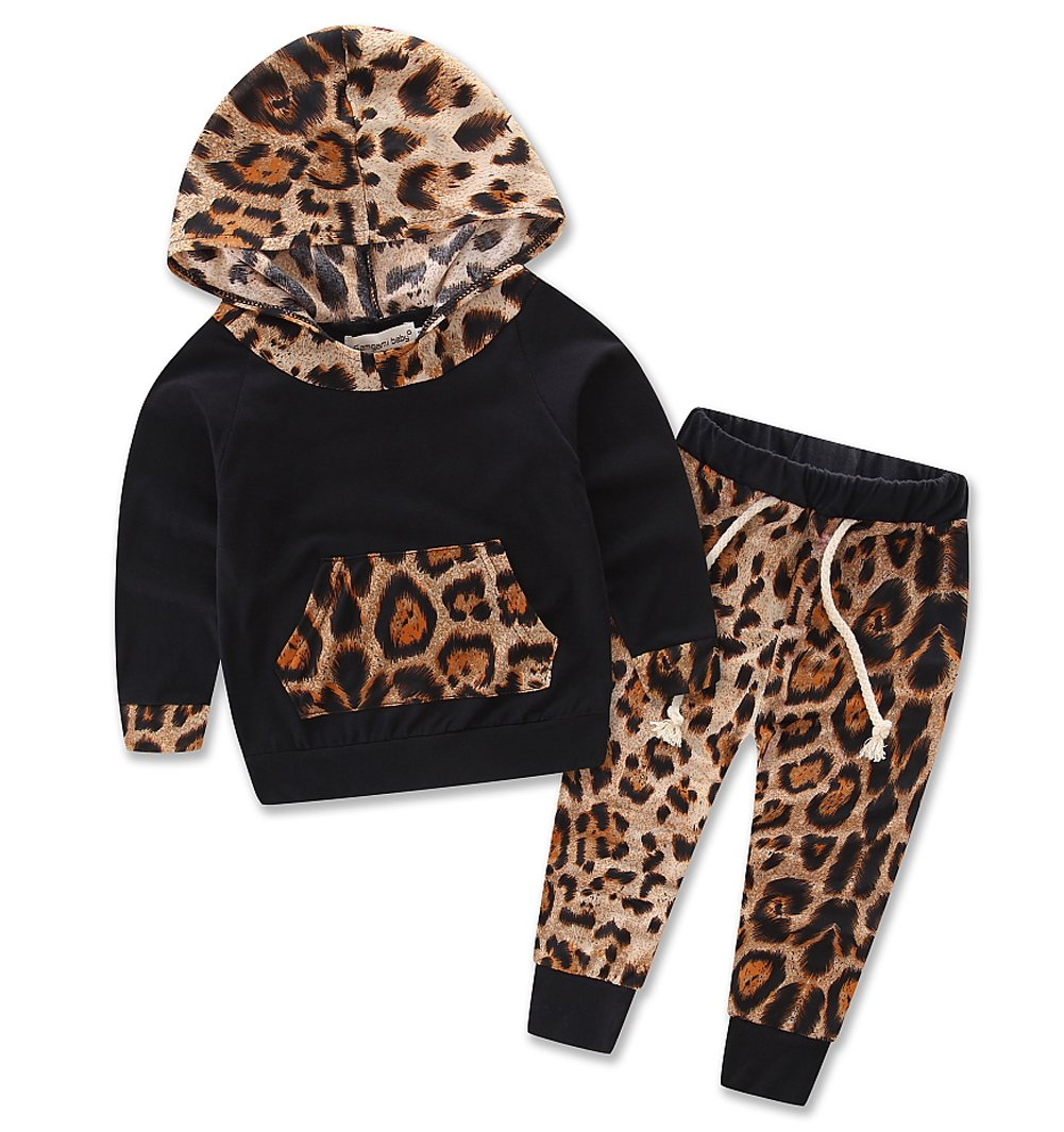 Baby Girls Floral Hoodie+ Floral Pant Set Leggings 2 Piece Outfits For 6M-3Y (12-18Months, Leopard)