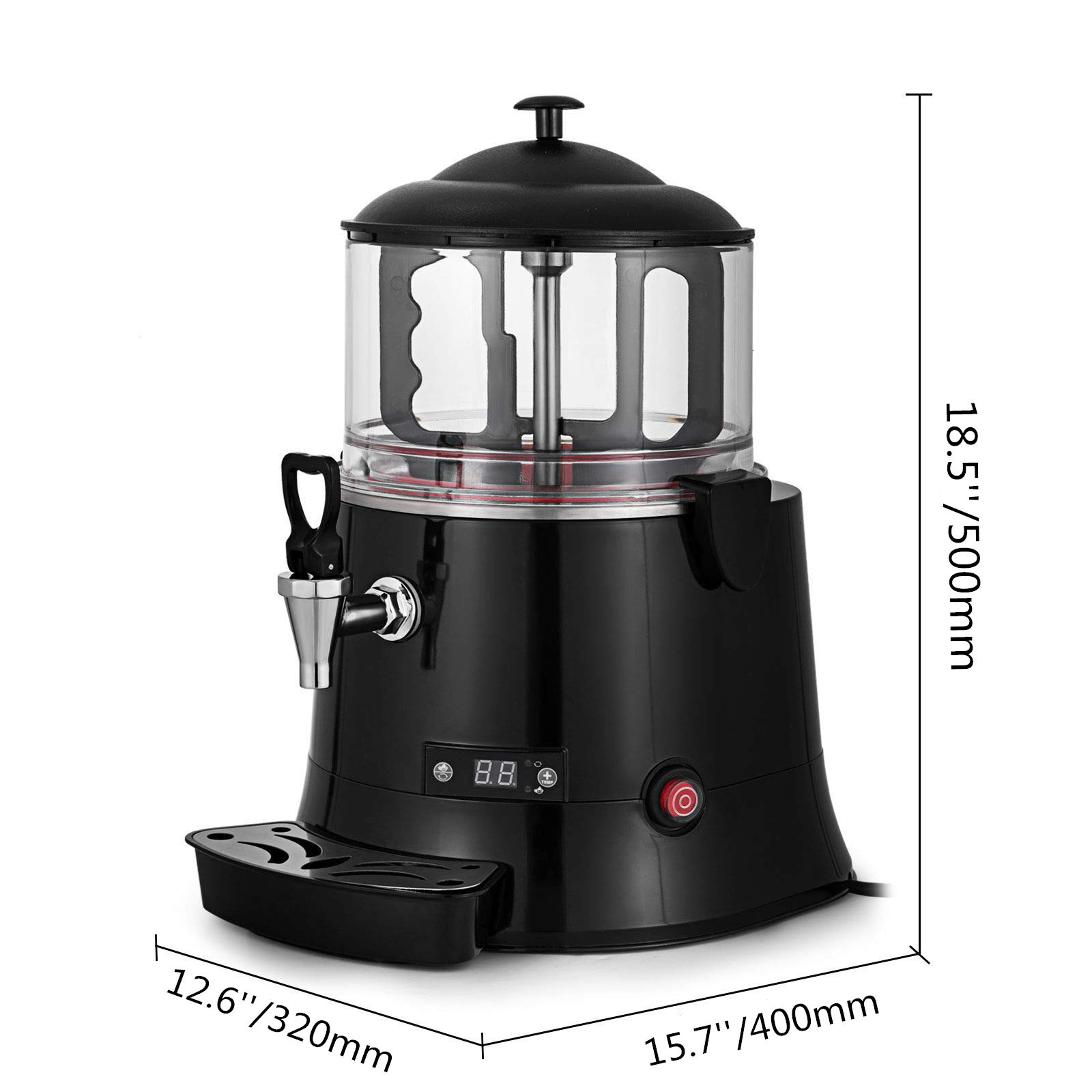 Shiny Silver Color 10 Liter Capacity Industrial Size Commercial Hot Chocolate Maker Drinking Machine Electric Hot Chocolate Beverage Dispenser 220V 22.05 lb