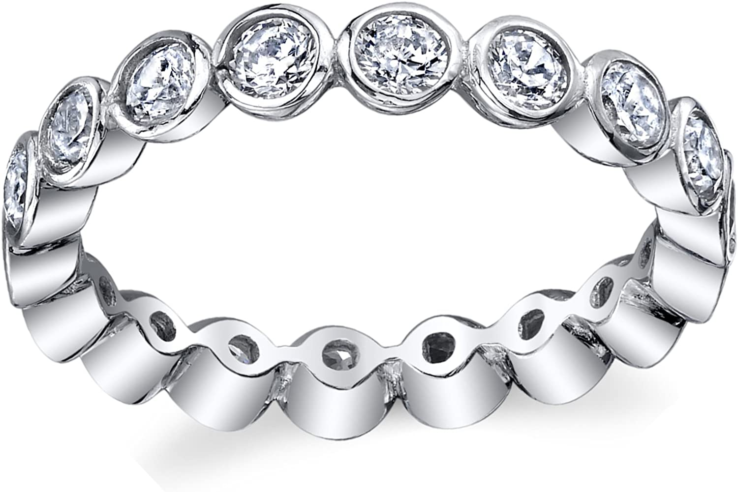 Sterling Silver 925 Bezel Set Eternity Ring Engagement Wedding Band With Cubic Zirconia CZ