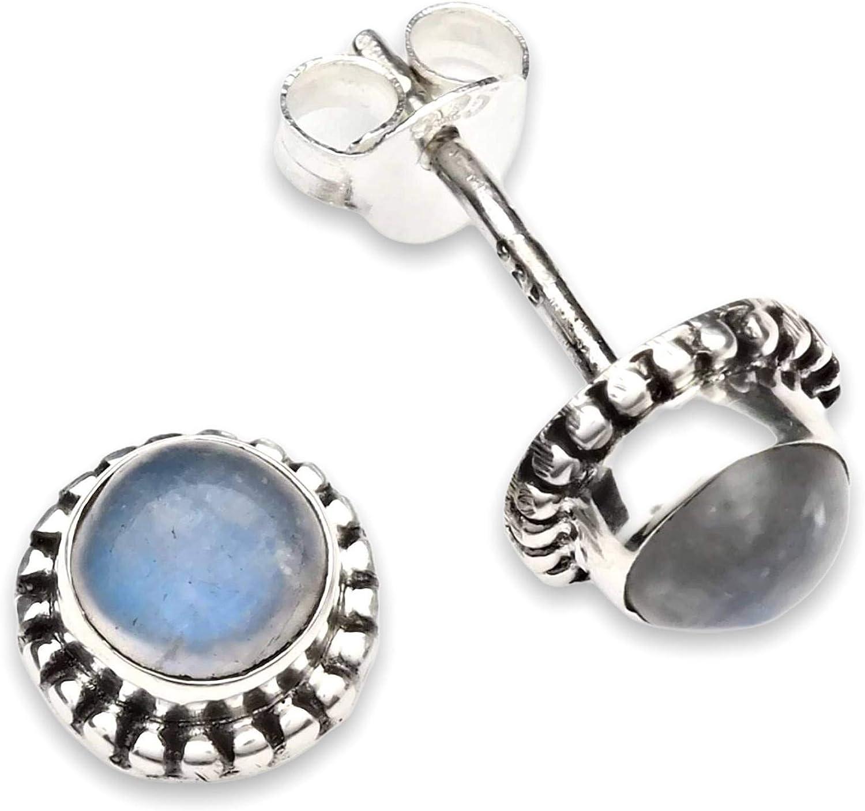 Pendientes de plata 925 con Piedra de luna (No: MOS 25-04)