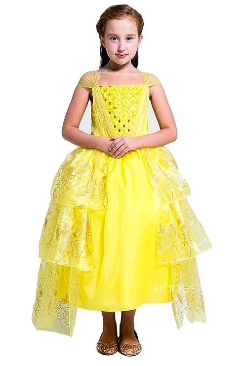 49aab189cc13e (eones)子供用ドレス ベル 薔薇スパンコール ふんわり しっかり3層構造 イエロードレス