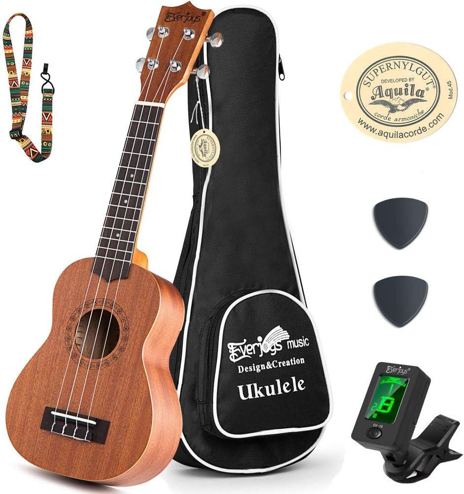 B07SGHGZMG Learn to Play Ukulele Soprano Starter Kit - Satin Mahogany Professional Uke - 21 inch w/Case Strap Digital Tuner Aquila Strings 71lpei3d37L