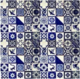 100 Hand Painted Talavera Mexican Tiles 4''x4'' Blue & White