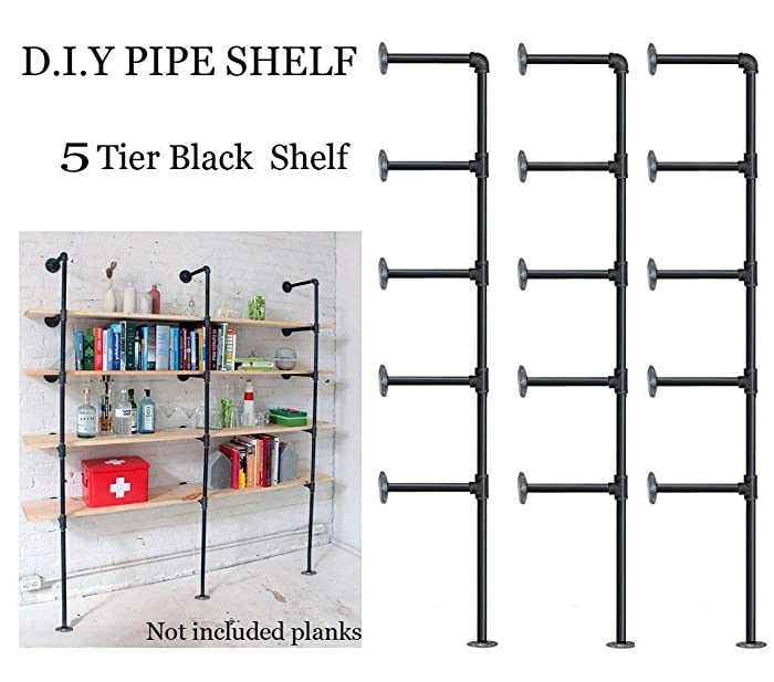 FOF Industrial Retro Wall Mount Iron Pipe Shelf,DIY Open Bookshelf,Hung Bracket,Home Improvement Kitchen Shelves,Tool Utility Shelves, Office Shelves,Ceiling Mount Shelf Shelves (3Pcs)