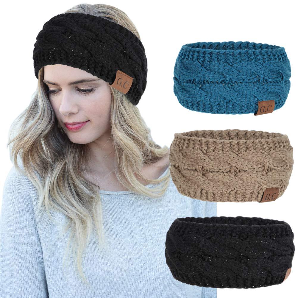 ca018cc02e60 Amazon.com : Women Headbands 3Pcs Knit Headband Twist Headband Crochet  Winter Cable Ear Warmer Khaki Blue Black Headbands for Girls : Beauty