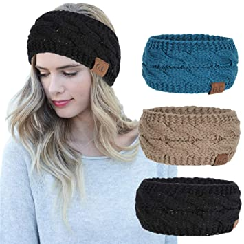 dede12397cf1d Amazon.com   Women Headbands 3Pcs Knit Headband Twist Headband Crochet Winter  Cable Ear Warmer Khaki Blue Black Headbands for Girls   Beauty