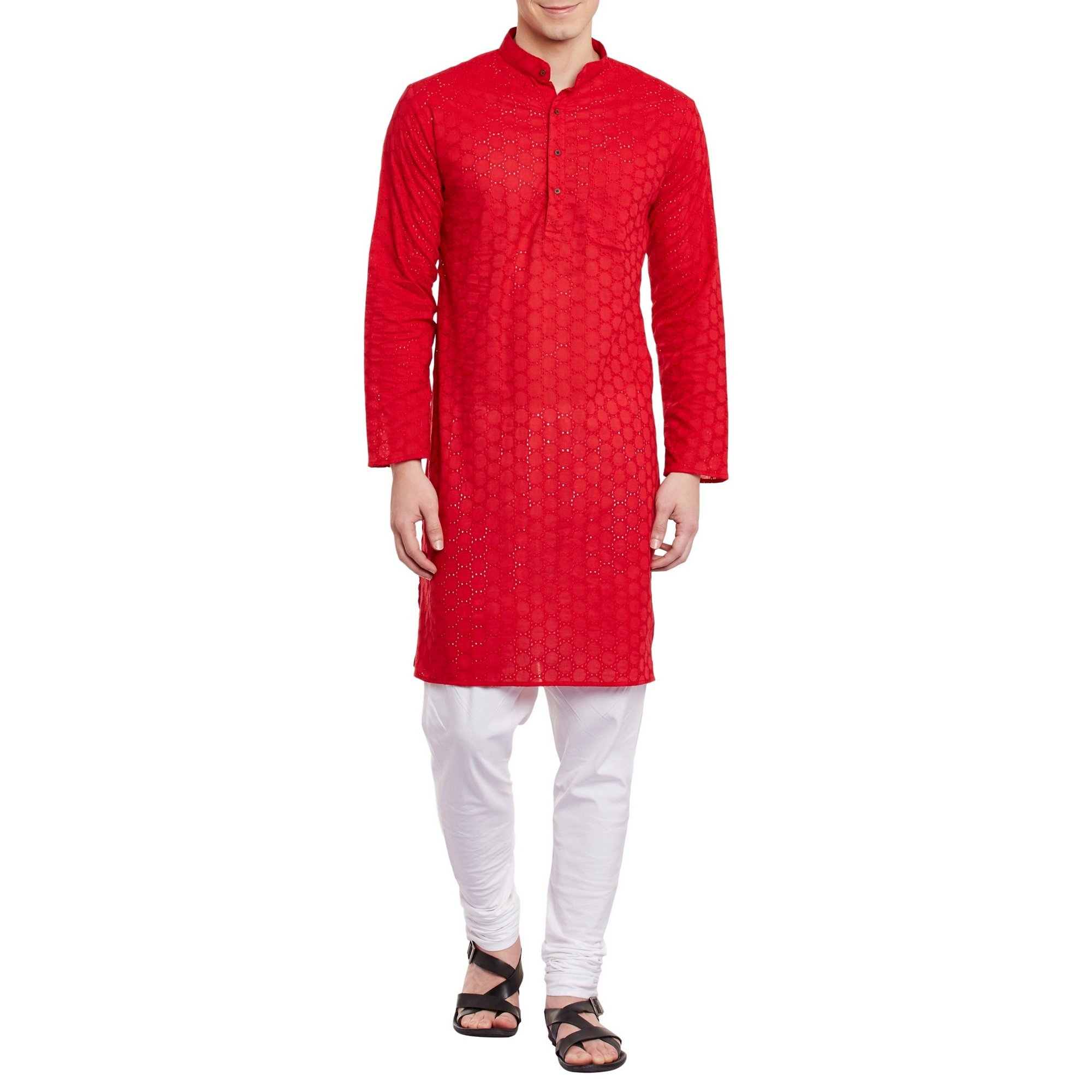 Mens Embroidered Cutwork Cotton Kurta With Churidar Pajama Trousers Machine Embroidery,Red Chest Size: 42 Inch