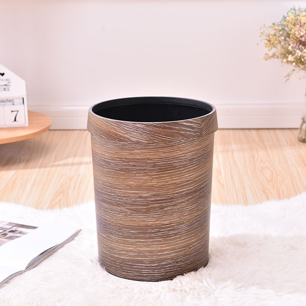 DTH Trash Can Bin Retro Living Room Bedroom Bathroom Indoor Storage Barrel Kitchen Imitation Wood Grain With Pressure Circle Trash Cans 8L