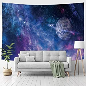 Jhdstore Starry Earth Universe Tapestry Decorative Wall Art Hanging Tapestries Polyester Bedspread Picnic Blanket Modern Wall Art Tapestry for Home Decor (Earth Universe, 51x59inch)