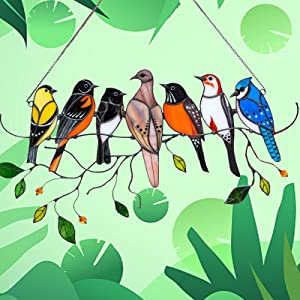 Multicolor Birds on a Wire, High Stained Acrylic Garden Suncatcher Window Panel Hanging Ornaments Pendant Acrylic Hanging Birds Decoration for Windows Doors Home Decoration and Gifts (7 Birds)