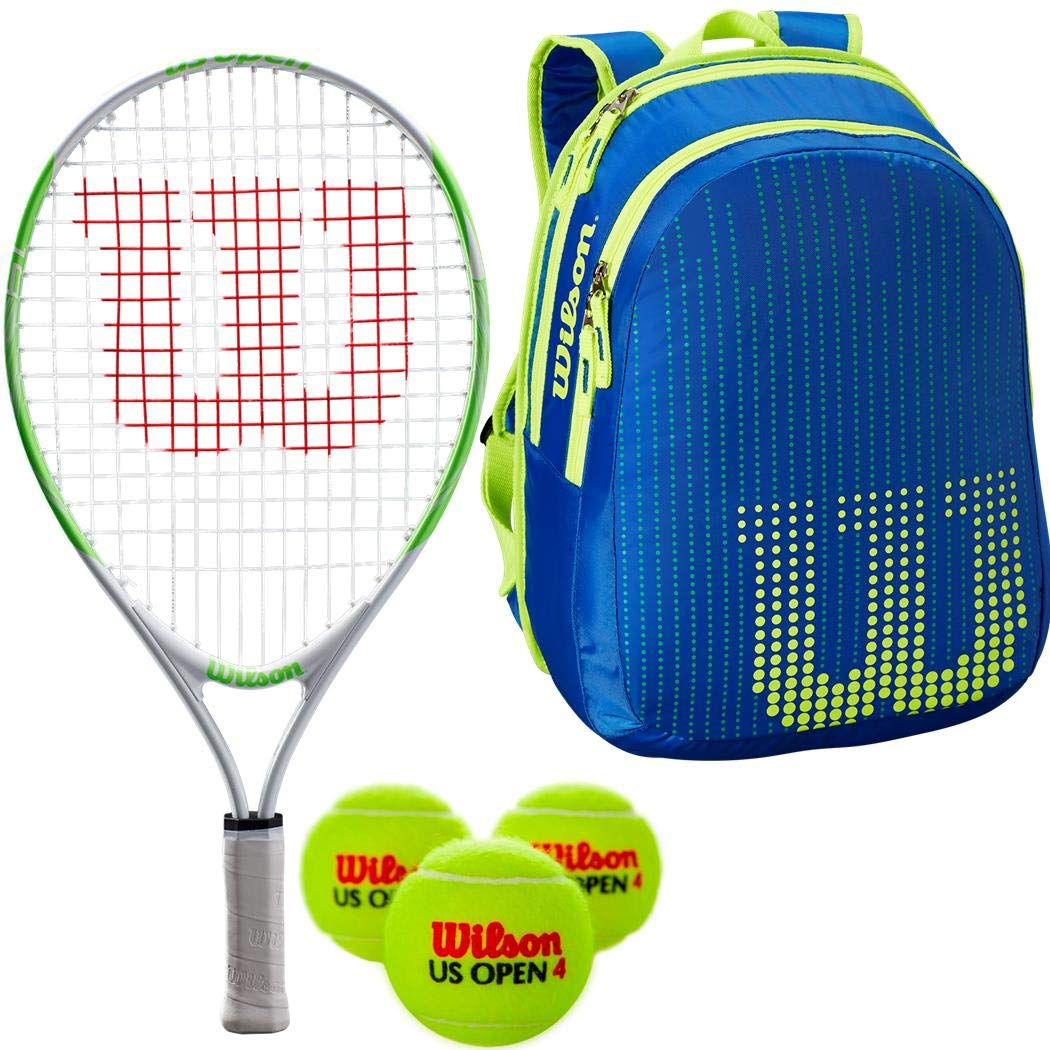 Wilson US Open 19 Inch Junior Tennis Racquet Kit or Set Bundled with a Neptune Blue/Solar Lime Kid's Tennis Backpack and a Can of US Open Tennis Balls