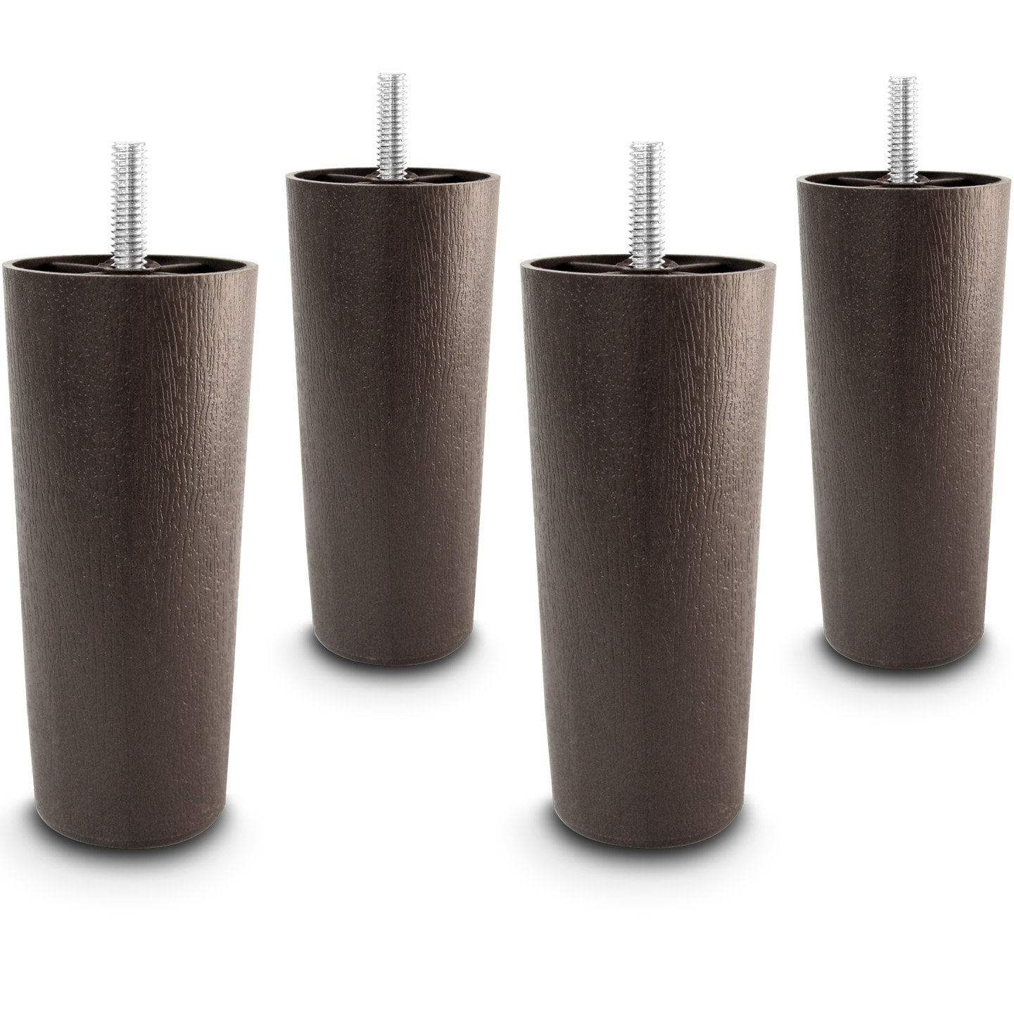 Choice Parts - 5 Inch Dark Walnut Plastic Tapered Sofa Legs, Set of 4 - 100% Satisfaction Guaranteed by Choice Parts