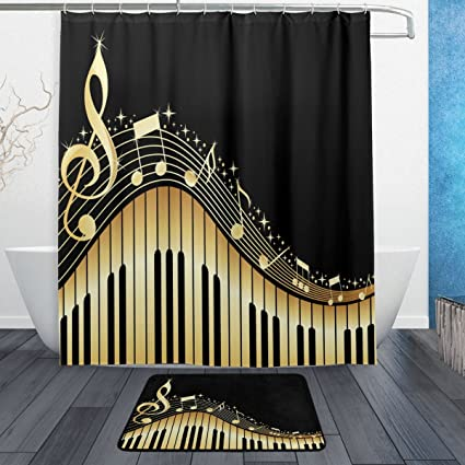 ALAZA Music Note With Piano Waterproof Polyester Fabric Shower Curtain 60 W X 72 H Inch