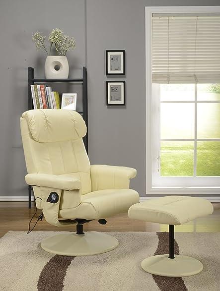 Kings Brand Cream White Massage Recliner Swivel Chair u0026 Ottoman With Heat & Amazon.com: Kings Brand Cream White Massage Recliner Swivel Chair ...