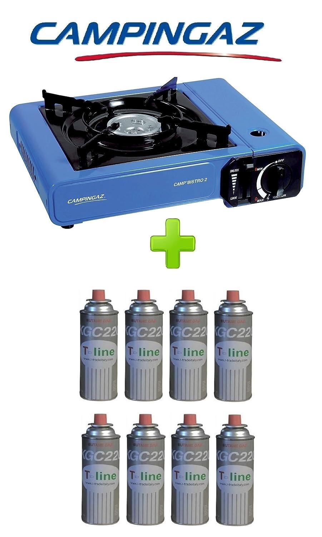 Campingaz Tischkocher Bistro Tisch 2 + 8 Patronen a Gas enthalten – Leistung 2.300 W inklusive Tasche und Piezozündung