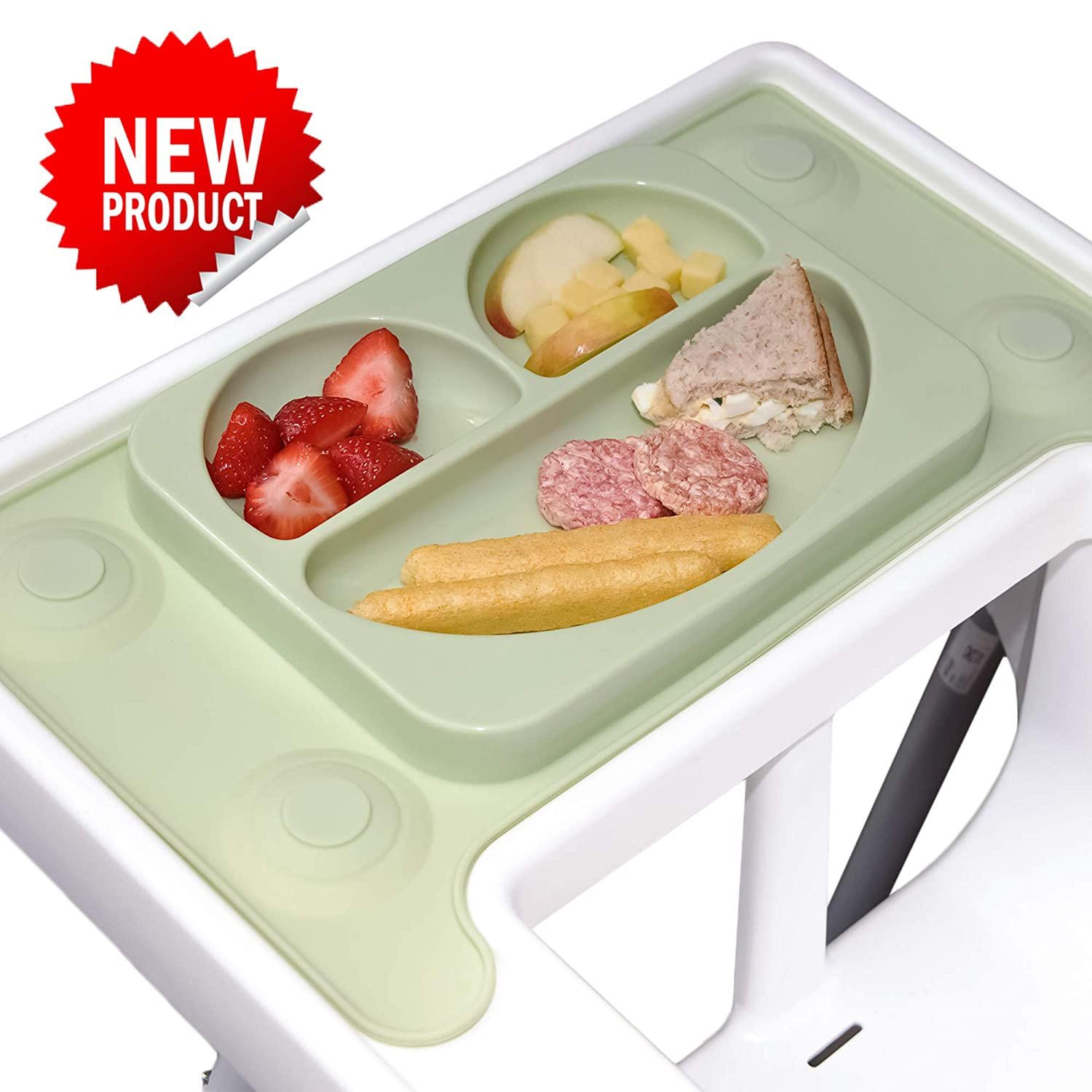 EasyMat 'Perfect Fit' Design for IKEA Antilop High Chair. Bespoke Design Baby Suction Plate and placemat. Best Accessory for Baby led weaning Made to fit The Most Popular UK high Chair (Olive) EasyTots