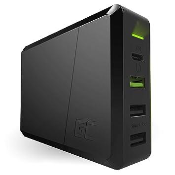 GC Power Source 4 Puertos 75W USB C Cargador con 60W USB-C PD Power Delivery, USB Quick Charge 3.0 y 2xUSB Smart Puertos, Cargador de Carga Rápida ...