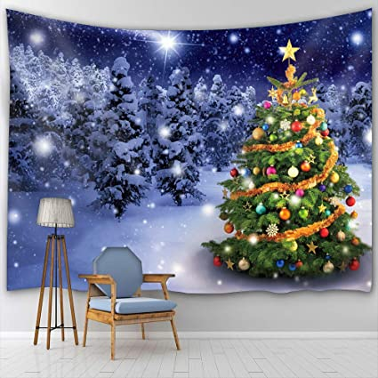 Btty Christmas Tree Wall Hanging Tapestry Art Painting Decoration For Bedding Living Room Bedroom Dorm Decor Polyester Fabric Tapestry Wall Hanging 59