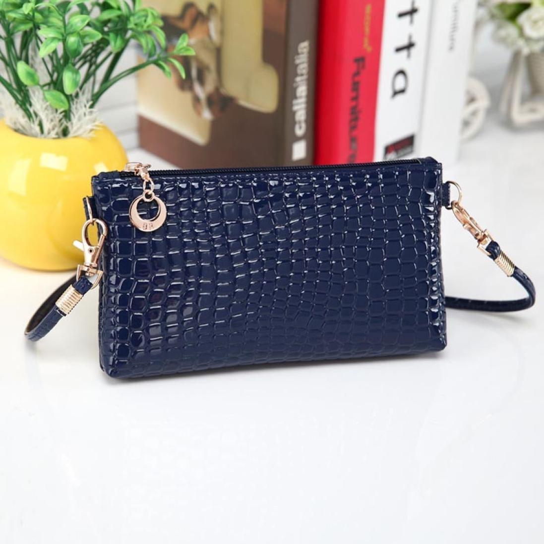 Gotd Bag Women Crocodile Leather Messenger Crossbody Clutch Shoulder Handbag (Blue)