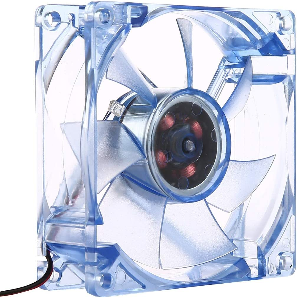 The fan is reliable in quality and has a long service life. Dark Blue 9 inch 9025 2-pin Computer Cooling Fan 8025 4 Pin DC 12V 0.18A Computer Case Cooler Cooling Fan with LED Light Size: 80x80x25mm