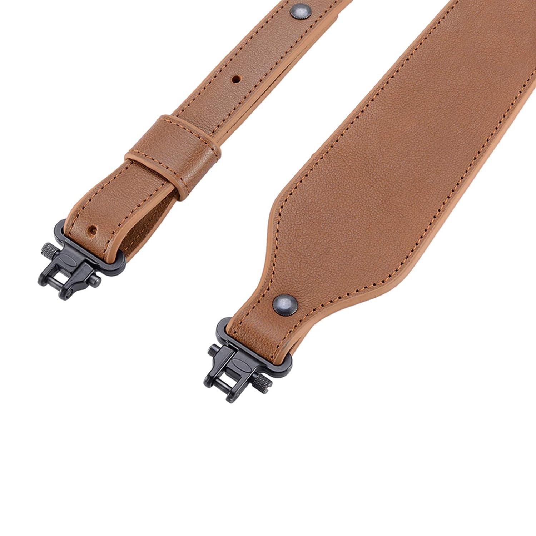 Sangle de Fusil Durable mat/ériel en m/étal 1 de Large BOOSTEADY Sangle en Cuir de Peau de Buffle avec /émerillons