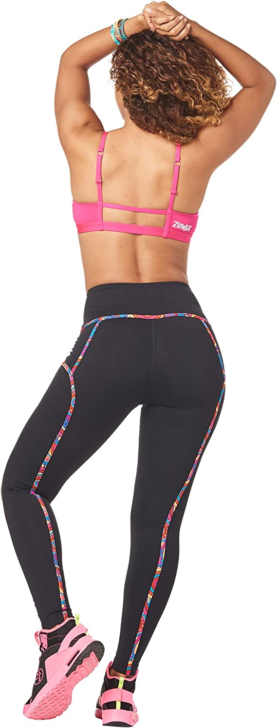 Zumba Wide Waistband Dance Fitness Compression Fit Workout Metallic Leggings for Women Donna