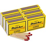 6 Boxes of Clipper Small 43mm Safety Matches (40/box), Ideal for BBQ's, Open Fires, Candles - Comes With TCH Anti-Bacterial Pen!