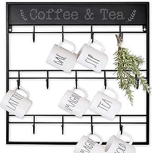 AJART Coffee Mug Rack (13 Hooks/Black) Large Wall Mounted 3 Tiers Coffee Cup Holder for Coffee Mugs, Teacups, Mason Jars, Kitchen Mugs. Display, Organizer and Storage Hangers.
