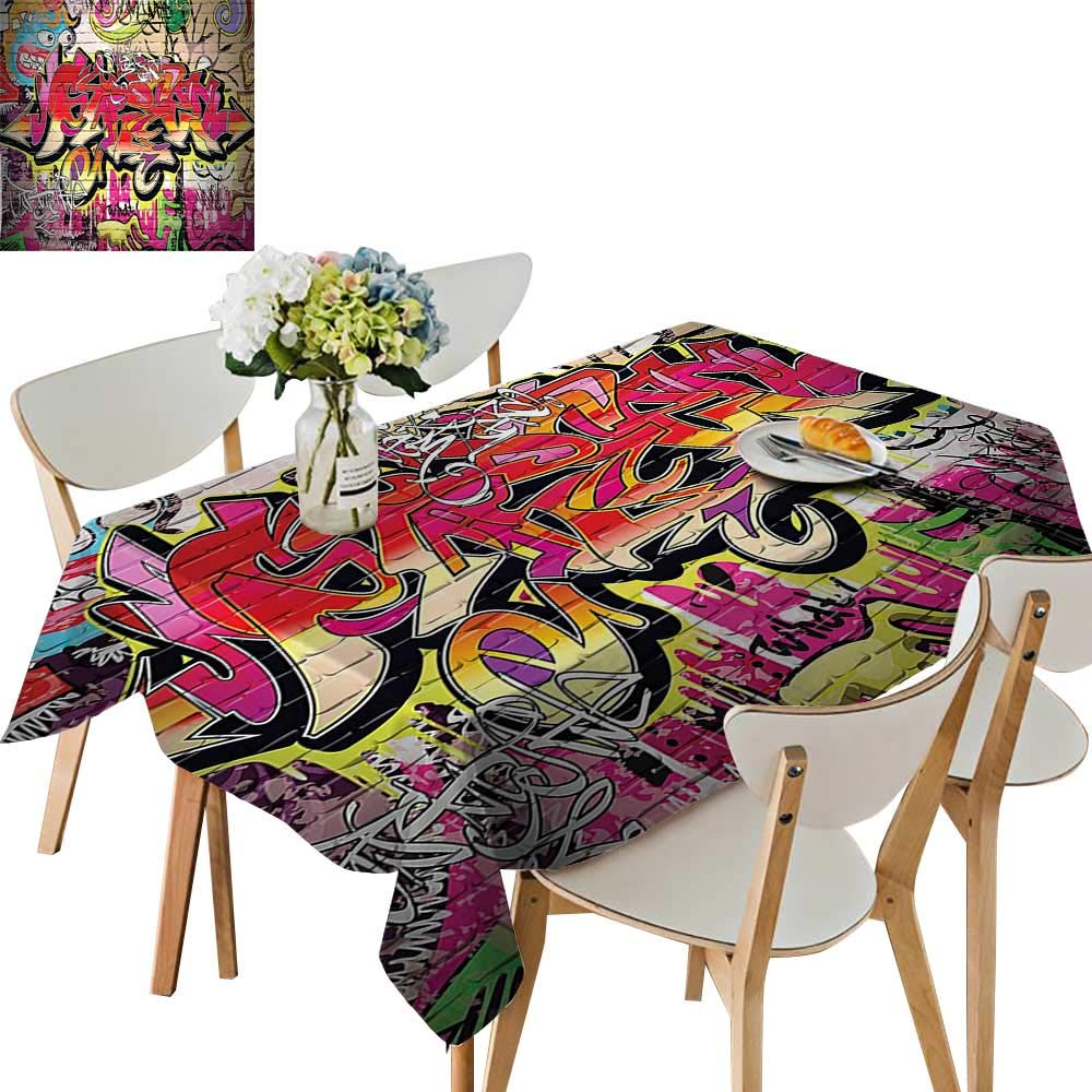 UHOO2018 100% Polyester Tablecloth on Wall Urban Street Art with Spray Paint Tagger Underground Theme Square/Rectangle Multicolor,54 x120inch.