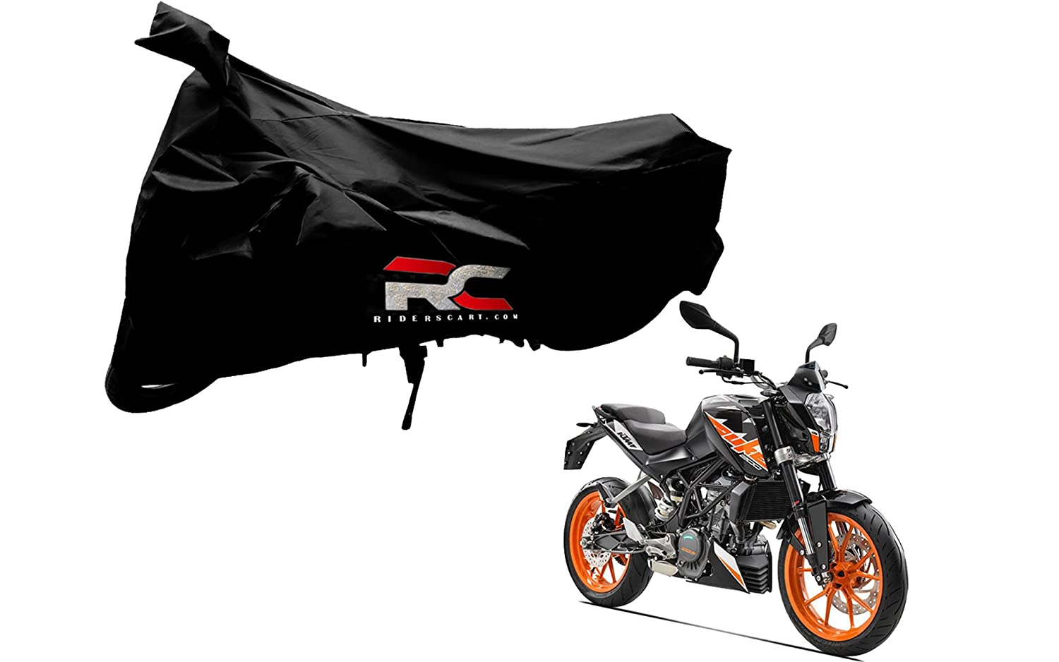 Riderscart bike for ktm duke 200 bicycle anti uv protection with anti theft lock holes and buckles includes bag black color amazon in car motorbike