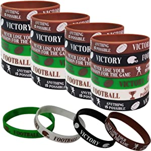 36 PCS Football Motivational Rubber Bracelets for Kids Adult - Super Bowl Sports/Football Birthday Party Favors Supplies Decorations Gifts Prize Silicone Wristbands