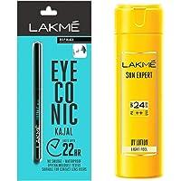 Lakmé Eyeconic Kajal, Deep Black, 0.35g & Lakmé Sun Expert SPF 24 PA ++ UV Lotion, 120ml