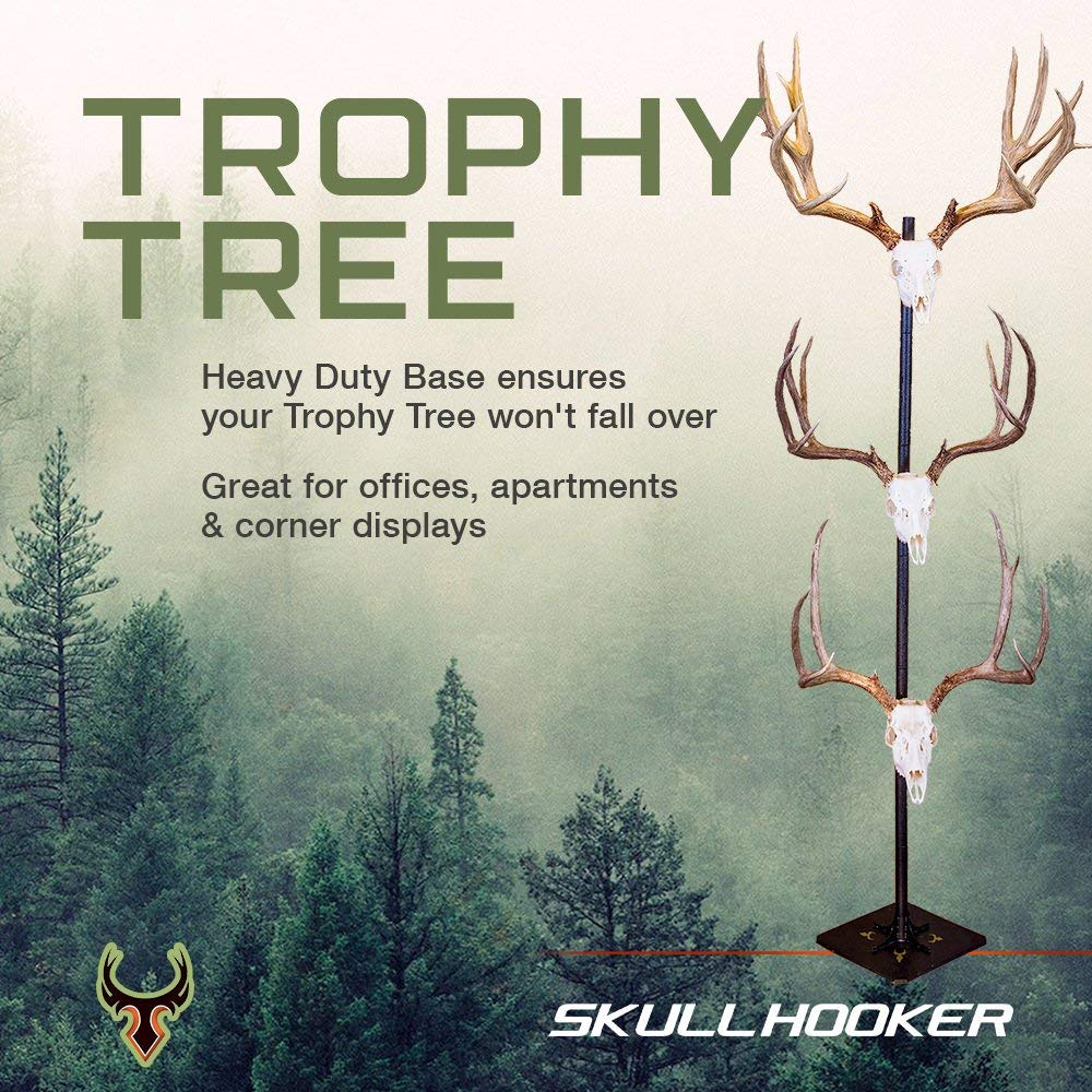 Skull Hooker Trophy Tree European Trophy Mount - Hang up to 5 Taxidermy Deer Antlers and other Skulls for Display - Graphite Black by Skull Hooker (Image #2)