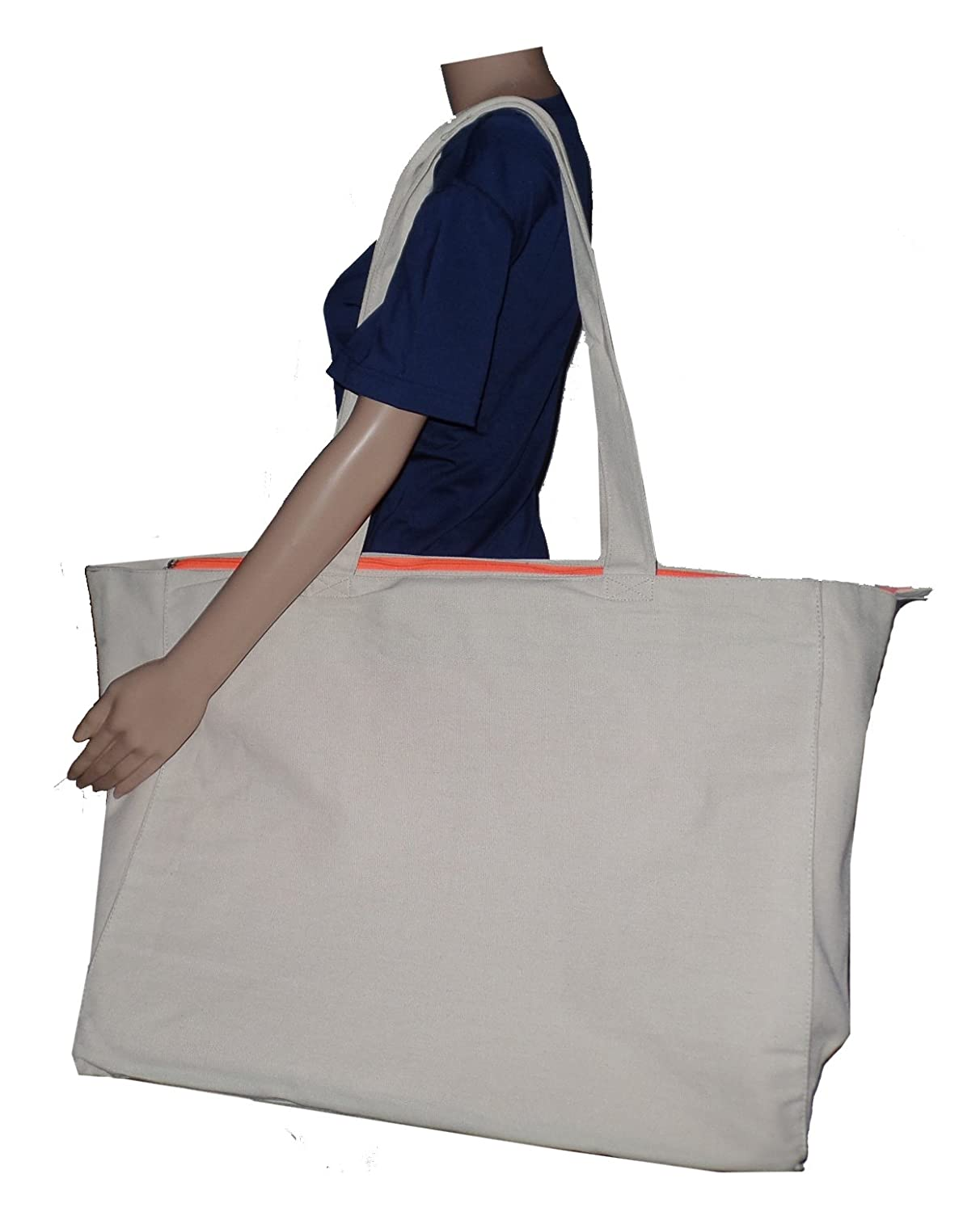 Extra Large Travel Day Tote Bag Heavy Duty Cotton Twill Zip Top (Medium Gray)   Amazon.ca  Luggage   Bags 84b17e8d52d62