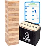 Giant Tumbling Timber Tower Game (Stacking from 2 to 4 Feet), WOOD CITY Classic Jumbo Outdoor Game for Adults Kids…