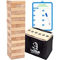 Giant Tumbling Timber Toy Life Size - WOOD CITY Wooden Blocks Tumble Tower Stacking Game for Kids and Adults, 54 Pieces, Premium Solid Wood, Carry Bag - Grows to Over 4-feet While Playing