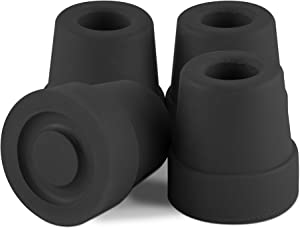 Essential Medical Supply Replacement Quad Cane Tips, Black, 1/2 Inch