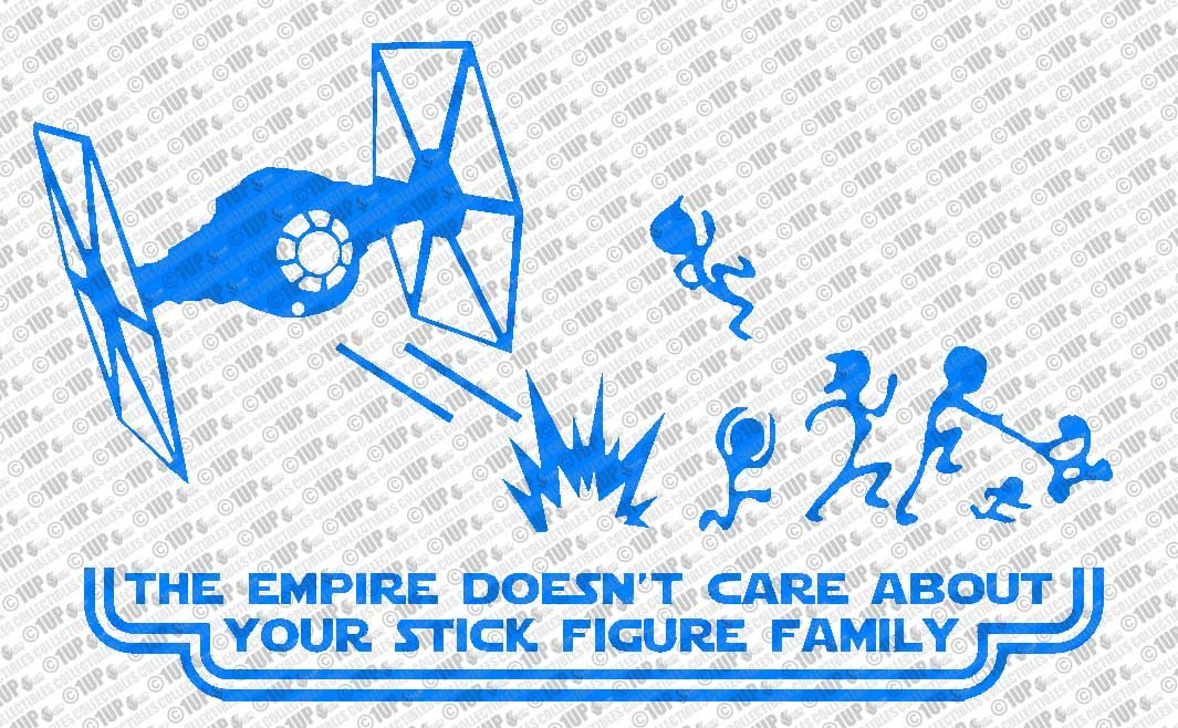 Collectible Decals The Empire Doesn't Care About Your Stick Figure Family  Star Wars Vinyl Car Decal Sticker (14
