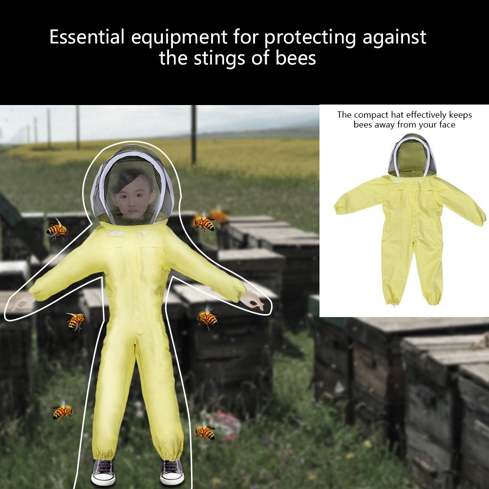 M Zerodis Beekeeping Suit with Veil Protective Bee Suit for Kids,Professional Beekeeping Jumpsuit Bee Visitor Cotton Long Sleeve Children Protection Bee Keeping Supplies