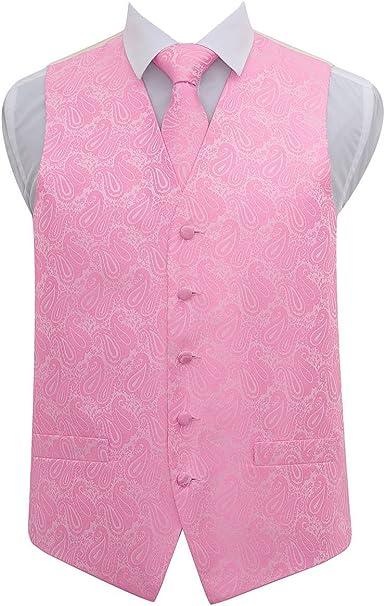 DQT Woven Plain Solid Check Black Mens Wedding Waistcoat /& Tie Set