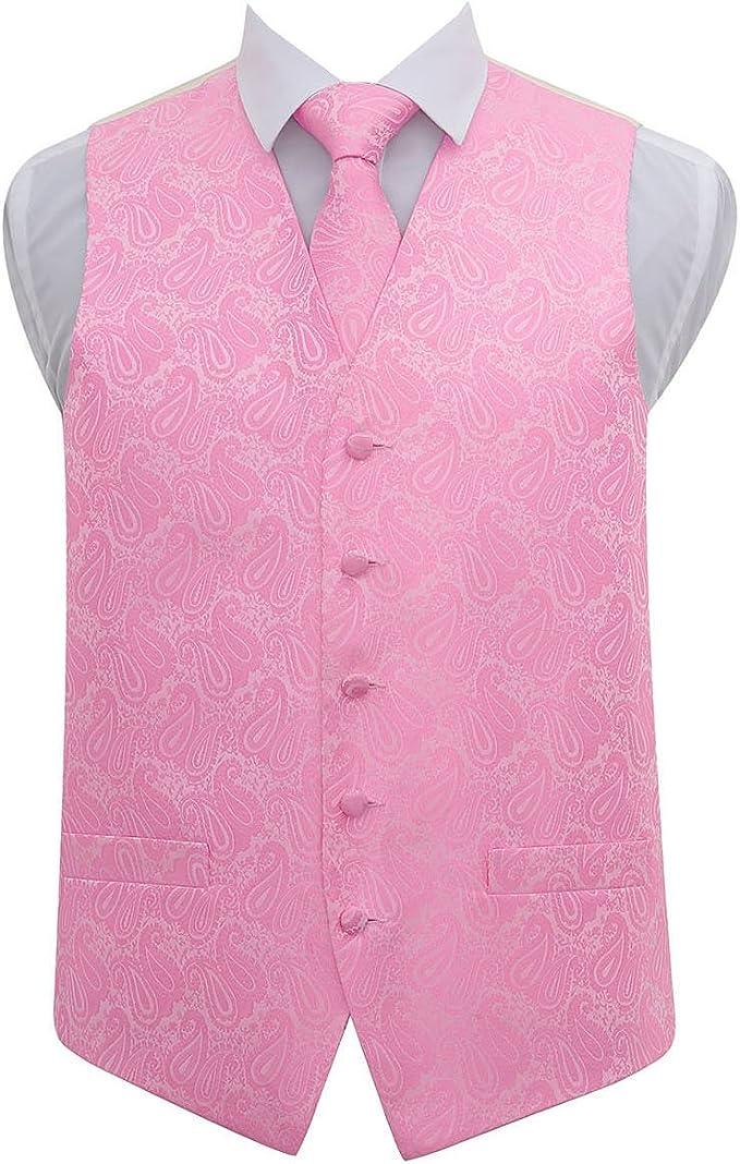 DQT Woven Floral Paisley Black /& Red Mens Wedding Waistcoat /& Bow Tie Set