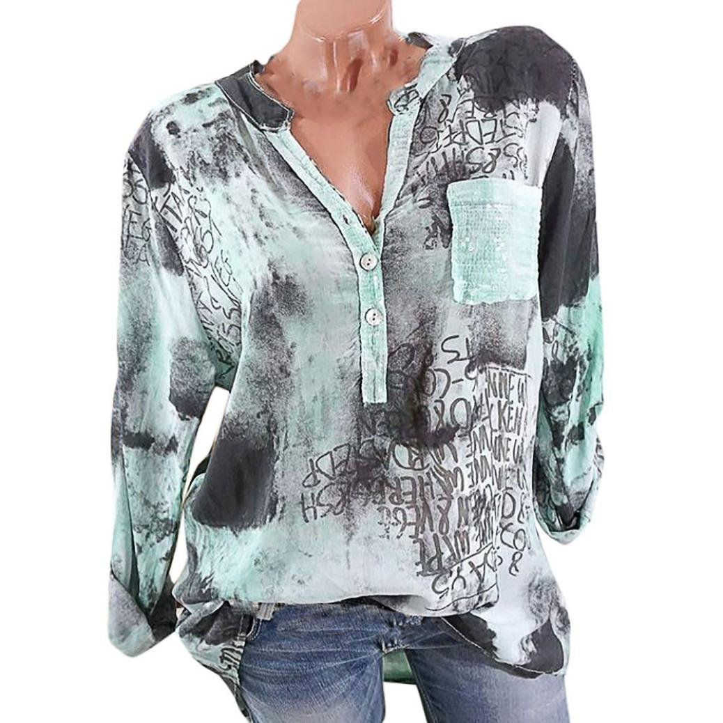 Spbamboo Women Printing Stand Long Sleeve Button Plus Size Blouse Top T-Shirt