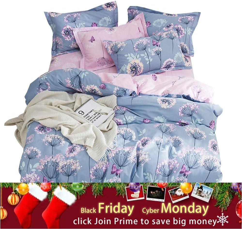 OTOB Purple Pink Floral Queen Duvet Cover Reversible Set with 2 Pillow Shams Cotton for Kids Teen Cartoon Butterfly Dandelion Pattern, 3 Piece Fairy Kids Girls Bedding Sets Full Size