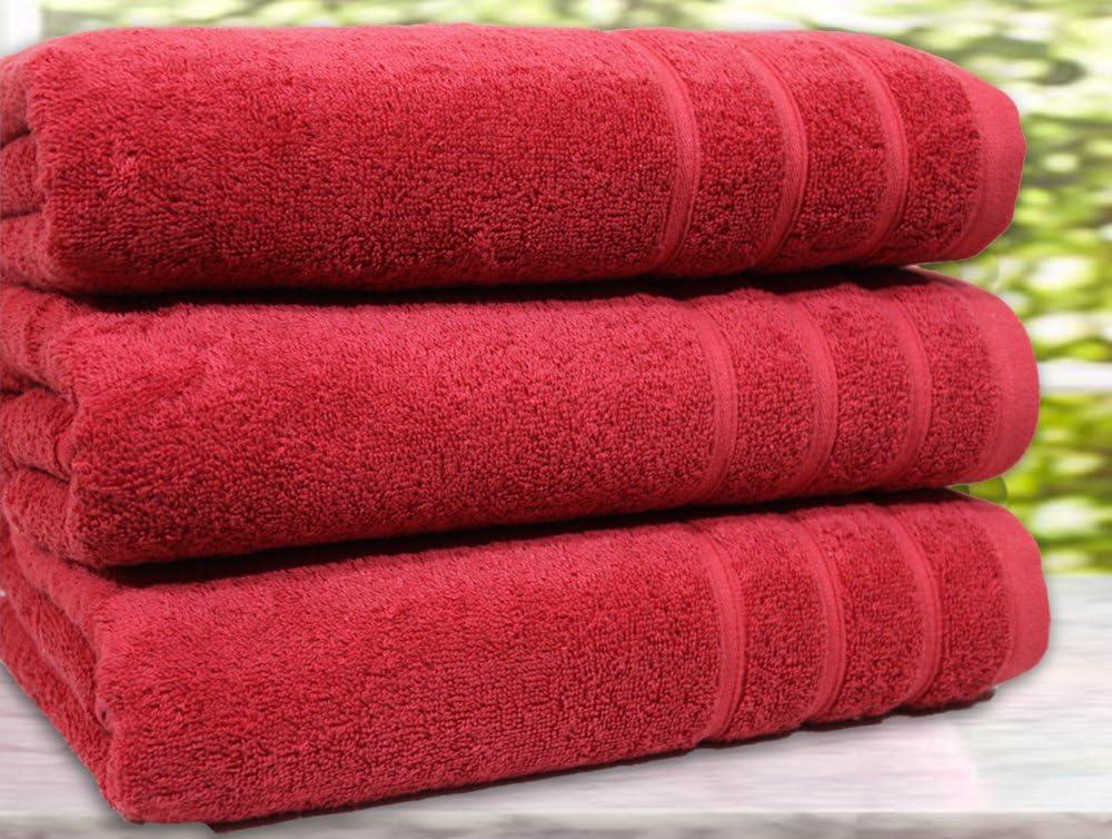 Juego de 3 Toallas de ba/ño y Toallas de Mano 3 Bath Towel BellaCasa Casabella 550 g//m/² tama/ño Extra Grande Morado