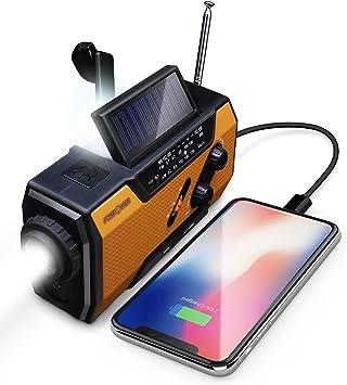 FosPower Radio portatil 2000mAh Solar Luces de Emergencia bateria ...