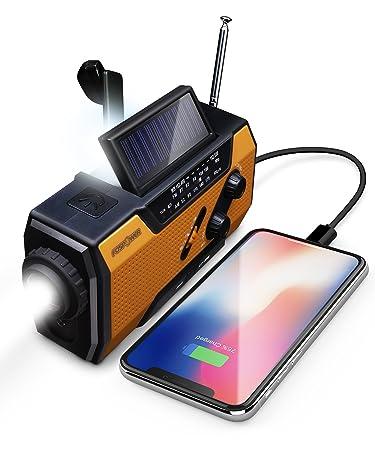 side facing fospower 2000mAh hand crank radio
